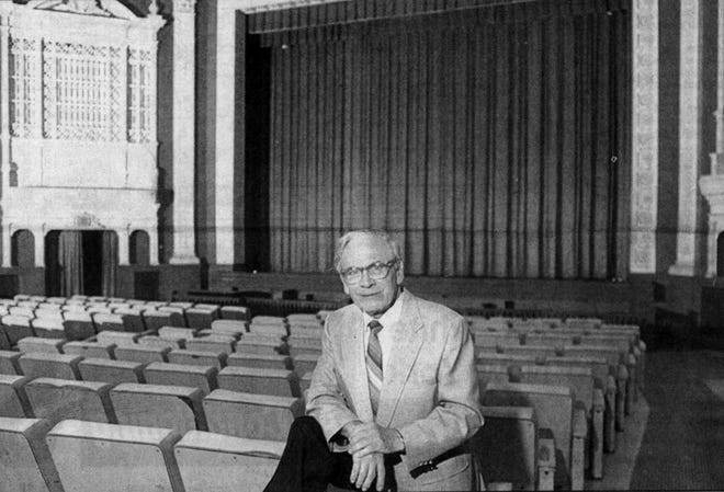 Cliff Knoll is pictured at the State Theatre in Sioux Falls in 1990 shortly after it closed.