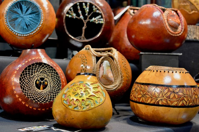 Crafts like this gourd art are sold this weekend at the Harvest Festival Original Art & Craft Show at Ventura County Fairgrounds.