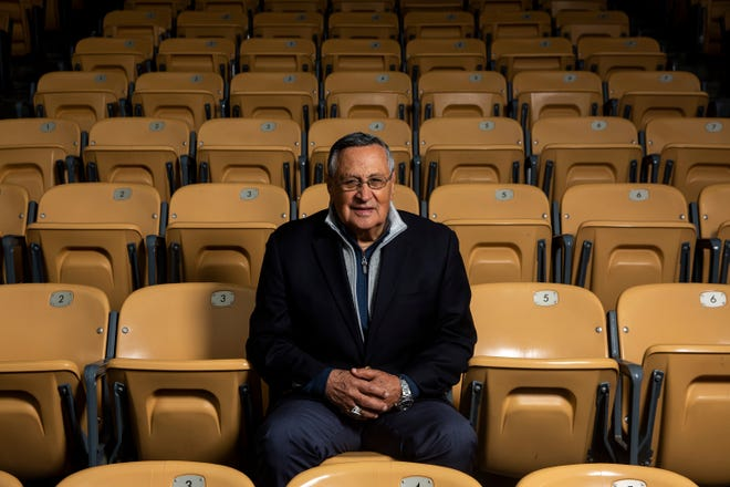 Jaime Jarrin, the Spanish-language voice of the Los Angeles Dodgers, poses for a portrait at Dodger Stadium on Friday, May 10, 2019 in Los Angeles.