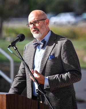 Dr. Robert Parkey presented a selection of his poetry during the Poetry at the Priddy Pavilion Friday.