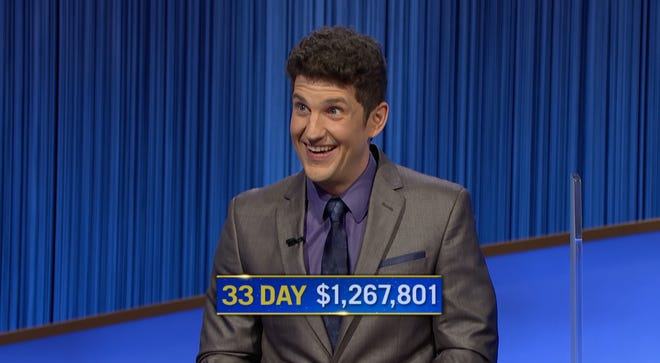 """Matt Amodio's luck continues. Friday he won his 33rd consecutive """"Jeopardy!"""" game."""