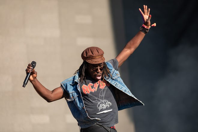 Eric Burton of Black Pumas performs on Friday at the Austin City Limits Music Festival.
