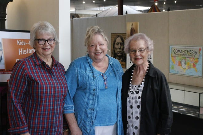 From left, Jane Rodgers, Beverly Norris and Wanda Ferguson are pictured near the entrance of the Brown County Museum of History.