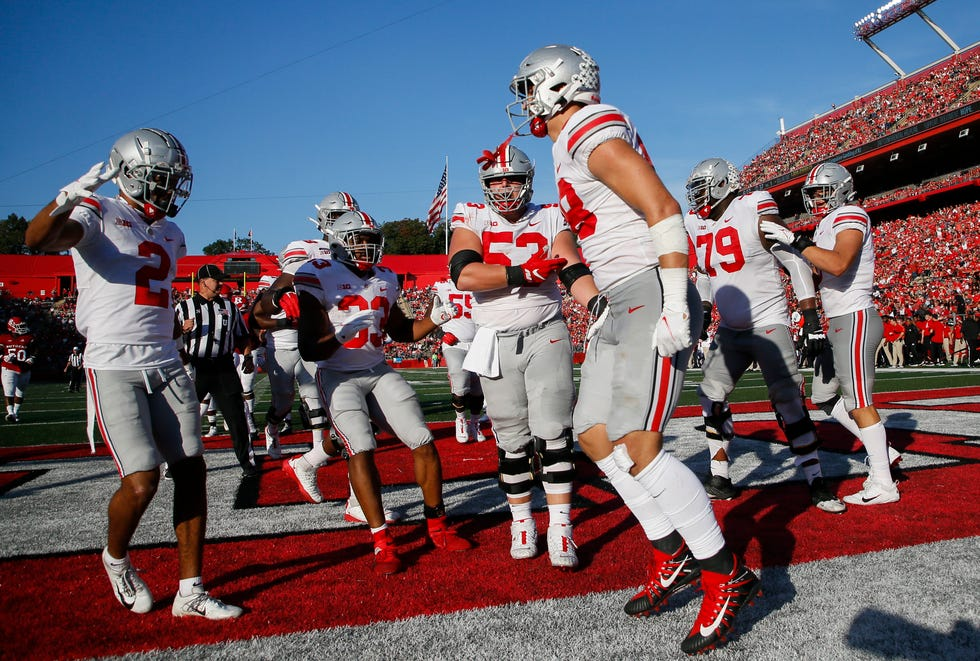 Teammates celebrate with Ohio State Buckeyes tight end Jeremy Ruckert (88) after he scored a touchdown during the second quarter of a NCAA Division I football game between the Rutgers Scarlet Knights and the Ohio State Buckeyes on Saturday, Oct. 2, 2021 at SHI Stadium in Piscataway, New Jersey.