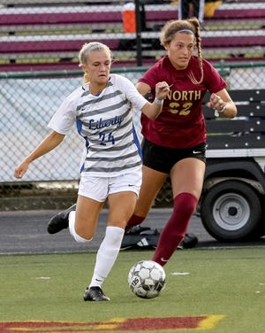 Olentangy Liberty's Chloe Brecht, left, is tied with Jaimaison Brooker for the team lead in goals with eight.