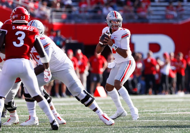 Ohio State Buckeyes quarterback C.J. Stroud (7) sits in the pocket during the first quarter of a NCAA Division I football game between the Rutgers Scarlet Knights and the Ohio State Buckeyes on Saturday, Oct. 2, 2021 at SHI Stadium in Piscataway, New Jersey.