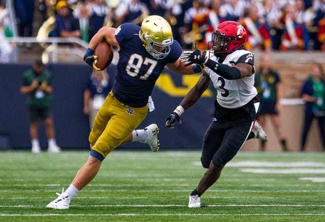 Notre Dame's Michael Mayer (87) tries to get past Cincinnati's Ja'von Hicks (3) during the Notre Dame vs. Cincinnati NCAA football game Saturday, Oct. 2, 2021 at Notre Dame Stadium in South Bend.