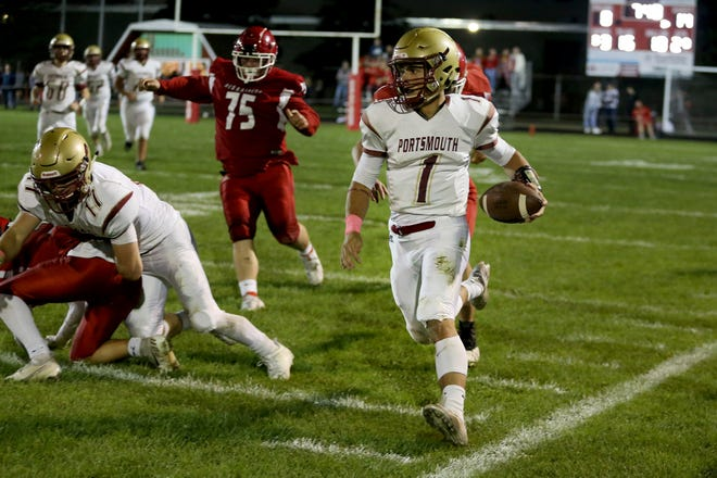 Portsmouth senior quarterback Will Hindle runs with the ball during Friday's Division I football game. Portsmouth improved to 4-1 with a 41-7 win over Spaulding.