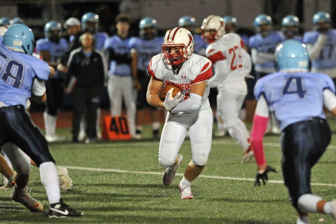 Narragansett's Reider Fry had no problem finding holes opened by the Mariners' offensive line during Friday's 43-18 win over Johnston.