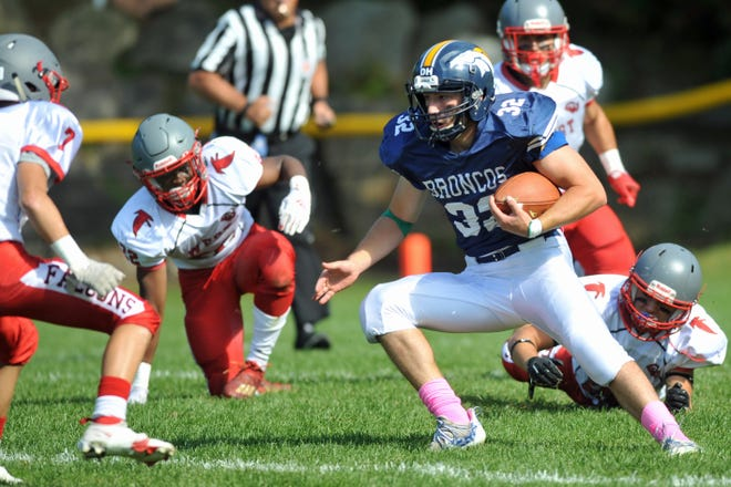 Burrillville's Carlo Acquisto looks for some running room during the first quarter of Saturday's game against Cranston West.