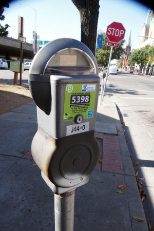 A parking meter in downtown Stockton.