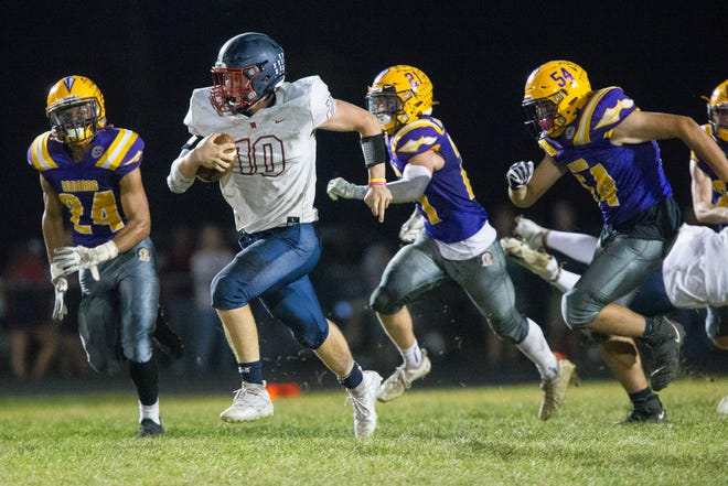 Belvidere North quarterback Mason Weckler, who scored the Blue Thunder's only touchdown on a 21-yard run last week, will be one of the main players Harlem has to stop in Friday's NIC-10 game between two 5-1 teams.