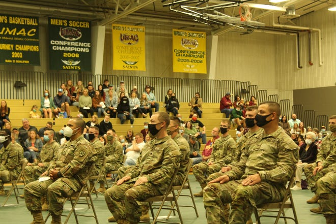 Soldiers at the Army Reserve activation ceremony on Saturday.
