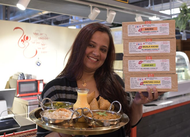 Pooja Vishal recently opened Namaste Woo at the Worcester Public Market, where she prepares Indian specialties for take-out. Her meal kits are sold at The Market Pantry.