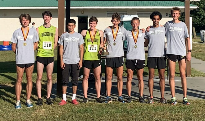 The Hagerstown Community College men's cross country team won the title at the 33rd annual Don Cathcart Invitational on Saturday in Salisbury, Md. The team includes, from left, Gabe Conder, Ryan Rasco, Mario Martinez, Henry Schmidt, Iggy Chalker, Trent Overcash, Jaron Pearson and David Butts.