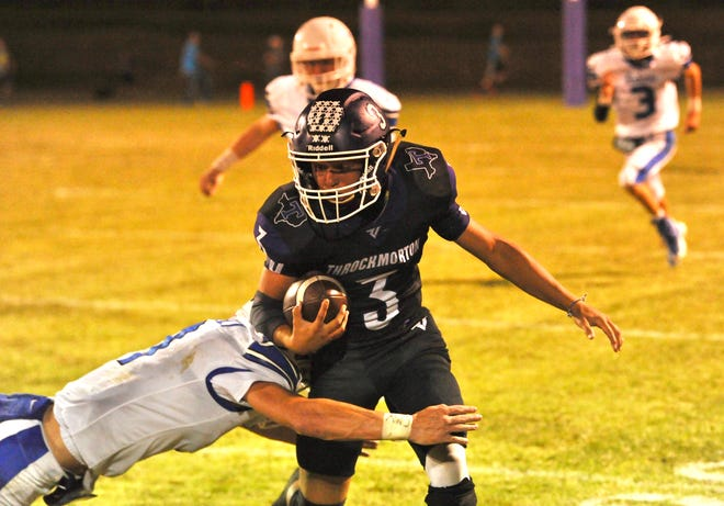 Bradley Torrez rushes on Oct. 1, 2021, against Rule. Torrez threw a touchdown pass in Throckmorton's 74-26 win over the Bobcats.