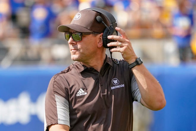 Western Michigan head coach Tim Lester against Pittsburgh during an NCAA college football game, Saturday, Sept. 18, 2021, in Pittsburgh.