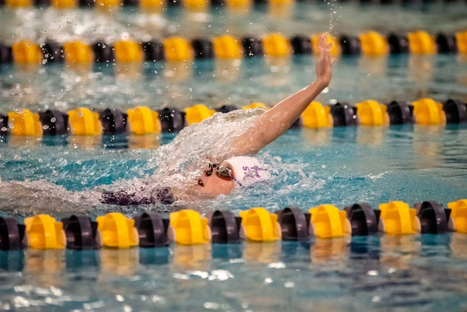 Lakeview's Emma Courter competes in the 100 yard backstroke during the All-City girls swim meet on Saturday, Oct. 2, 2021 at Battle Creek Central High School.