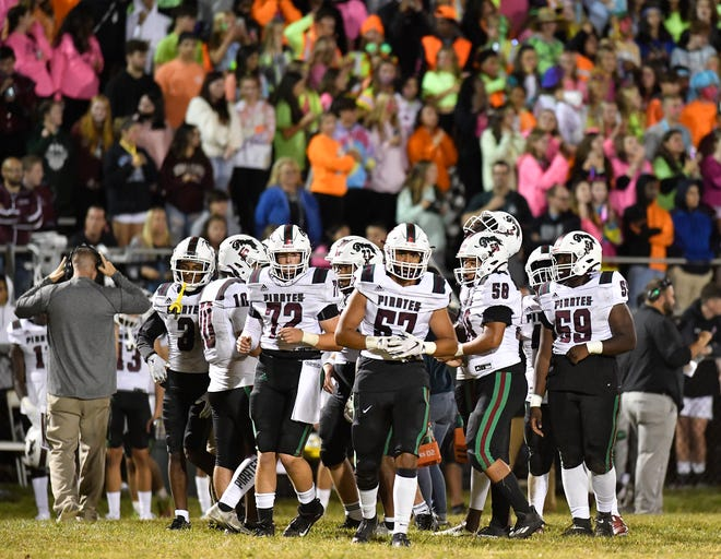 The Cedar Creek High School football team defeated Holy Spirit on Friday night. The Pirates upset the top-ranked Spartans 7-6 in Absecon. Oct. 12, 2021.