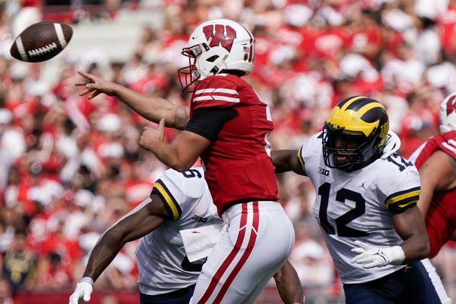Wisconsin's Chase Wolf throws a pass during the second half against Michigan Saturday, Oct. 2, 2021, in Madison, Wis.