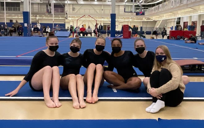 The Corning-Painted Post gymnastics team places second out of four teams at a meet at the Rush-Henrietta Recreation Center on Oct. 1, 2021.