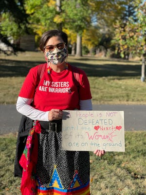 Tawny Cale, a member of the Standing Rock Sioux Tribe, spoke at the protest about the impacts of anti-abortion legislation on people of color.
