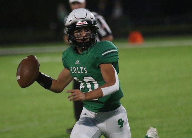 Clear Fork's Victor Skoog went 14-for-26 passing for 143 yards and two touchdowns while also running for 63 yards on 17 carries and a score during the Colts' win over Pleasant.