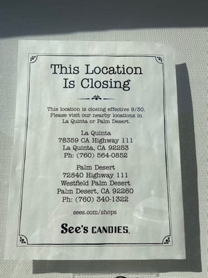 See's Candies is pictured Saturday, Oct. 2, 2021 at 144 S. Palm Canyon Drive in Palm Springs. The location closed Sept. 30.