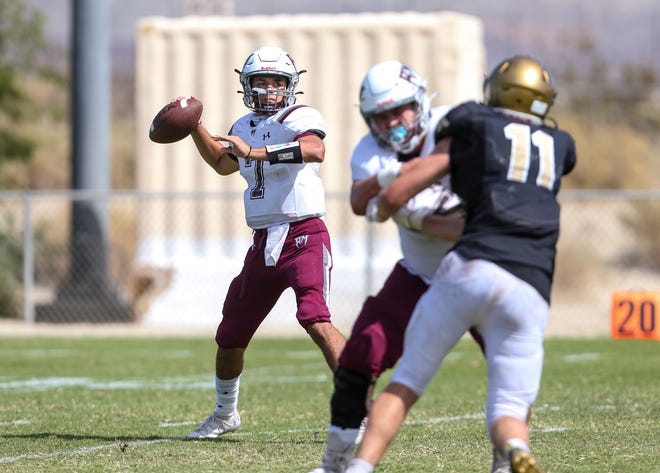Rancho Mirage's Ethan Zamora (7) looks to pass during the fourth quarter of their game at Xavier College Preparatory High School, Saturday, Oct. 2, 2021, in Palm Desert, Calif.