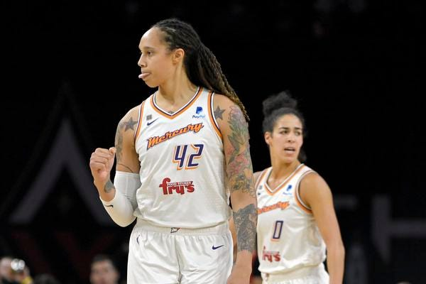 Phoenix Mercury center Brittney Griner (42) reacts after a basket against the Las Vegas Aces during the second half of Game 2 in the semifinals of the WNBA playoffs Thursday, Sept. 30, 2021, in Las Vegas. (AP Photo/David Becker)