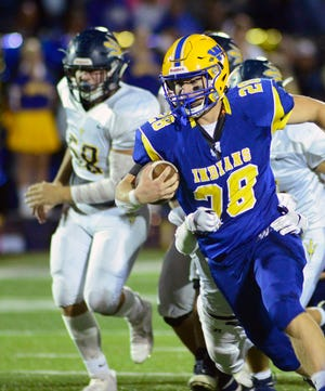 Waynesboro's Aiden Mencia (28) runs for the Indians. Greencastle traveled to Waynesboro for Friday Night football, October 1, 2021. The Indians defeated the Blue Devils  28-14.