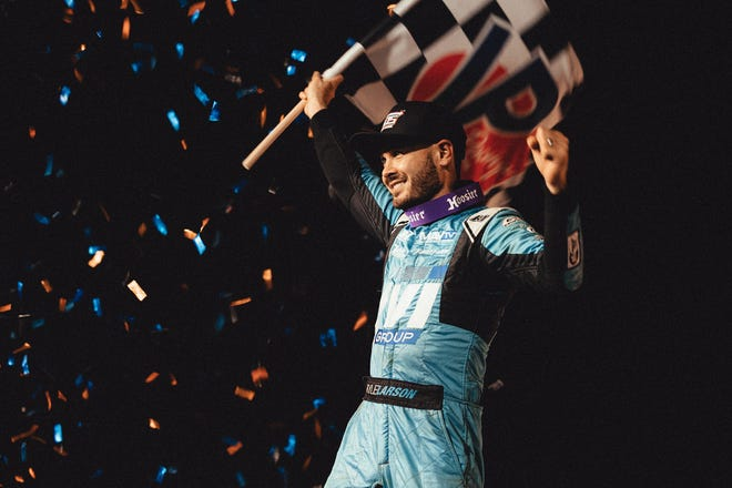 Kyle Larson celebrates his World of Outlaws win on Friday night at Williams Grove Speedway.