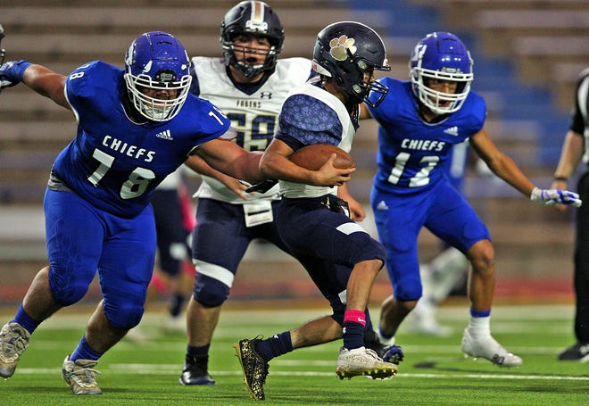 San Angelo Lake View defender Juan Ortiz (78) closes in on Fabens ball carrier Isaac Urrutia, center, during Class 4A nondistrict football game at San Angelo Stadium Friday, Oct. 1, 2021.