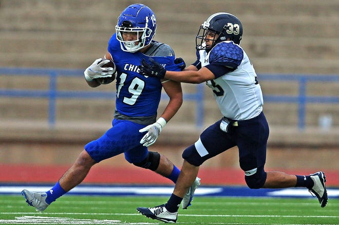 Lake View's Josh Torres, left, rushes the ball during a game against Fabens at San Angelo Stadium on Friday, Oct. 1, 2021.