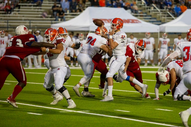 San Angelo Central's Tyler Hill throws a pass against Odessa High School during the second quarter Friday night at Ratliff Stadium.
