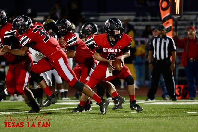 Garden City High School's Logan Seidenberger (6), shown in a photo from the 2020 season, passed for four touchdowns as the Bearkats beat Westbrook 56-44 in a Class 1A football game Friday, Oct. 2, 2021, in Garden City.