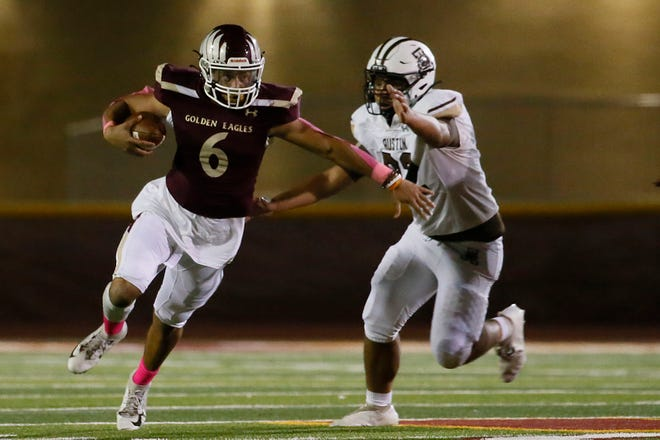 Andress' Elias Duncan during the game against Austin Friday, Oct. 1, 2021, at Andress High School in El Paso. Andress won 34-14 against Austin.