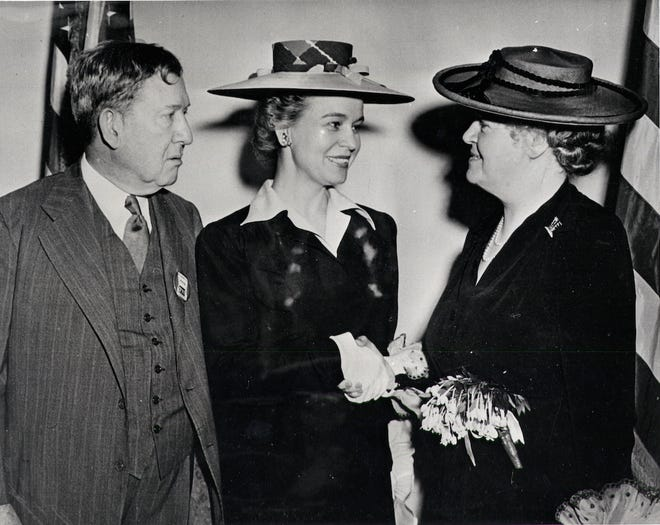 Will and Oveta Culp Hobby with U.S. Rep. Edith Nourse Rogers after Oveta was sworn in as the director of Women's Auxiliary Army Corps, the predecessor to the Women's Army Corps, in 1942. Although she was recommended repeatedly for higher status, she remained a colonel because powerful men, especially in U.S. Congress, did not want the WAACs or WACs to succeed.
