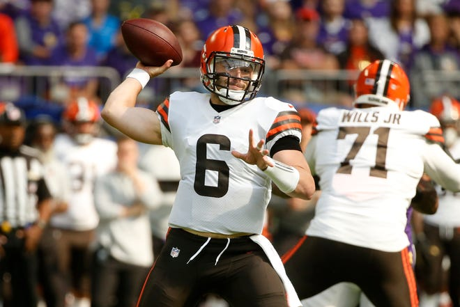 Cleveland Browns quarterback Baker Mayfield (6) throws a pass during the first half of an NFL football game against the Minnesota Vikings, Sunday, Oct. 3, 2021, in Minneapolis. (AP Photo/Bruce Kluckhohn)
