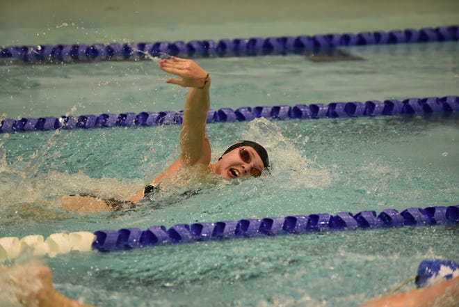 Tecumseh senior Linda Hensley swims in the 200-meter freestyle event during Thursday's Southeastern Conference White Division dual at Adrian High School.