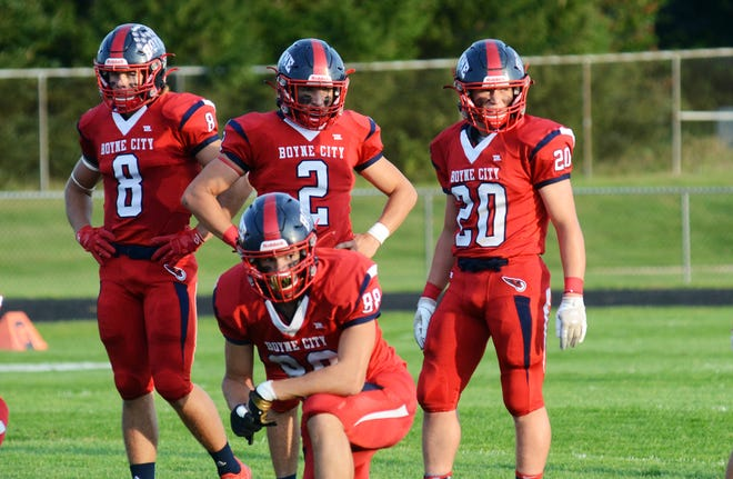 Boyne City's defense of Bobby Hoth (8), Joey McHugh (2), Jacob Bush (20) and Scotty Haley (88) again came through with a strong performance before the Blazers got a pair of late scores against backups.