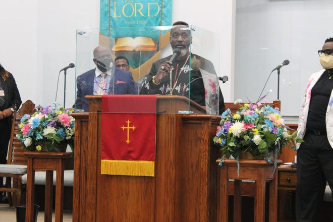 """Guest speaker Bishop Anthony Gilyard delivered the sermon Friday at DaySpring Baptist Church during the final night of the """"Safe in His Arms"""" summit hosted by Elder Dr. D.E. Richardson II, founder and pastor of Temple of Praise Restoration and Outreach Ccenter (TOPROC). Gilyard is the state prelate of the Southwestern Florida Jurisdiction of COGIC."""