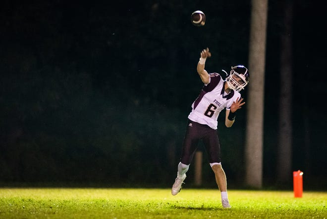 O'Neill quarterback Kyle West throws the ball during a Section 9 football game in Chester on October 2, 2021.