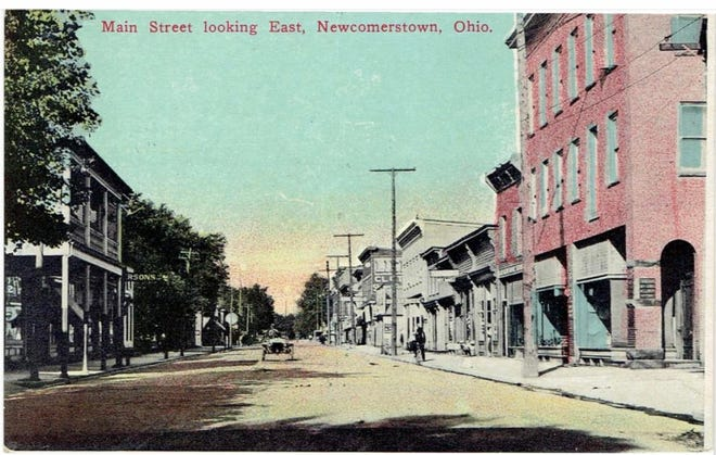 The Lydick Building, right, was a part of Main Street in Newcomerstown in this 1908 photo.