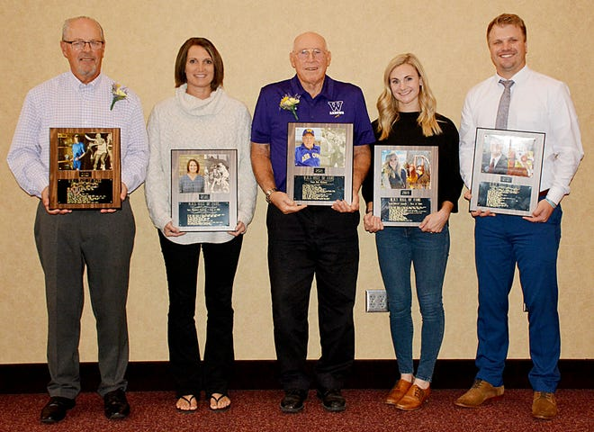 The five new inductees into the Watertown High School Athletic Hall of Fame on Saturday included, from left, Doug Murphy, Stacy (Schooley) Hendricks, Dale McElhany, Leslie (Brost) Szmanda and Josh Hanson. They were inducted during a luncheon at the Watertown Event Center.