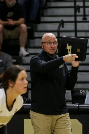 Purdue head coach Dave Shondell during the first set of an NCAA women's volleyball game, Saturday, Oct. 2, 2021 at Holloway Gymnasium in West Lafayette.