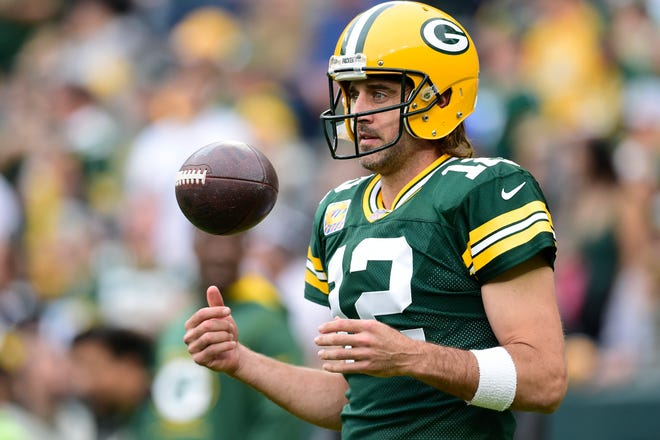 Aaron Rodgers of the Green Bay Packers is seen during the pregame against the Pittsburgh Steelers on Oct. 3, 2021, in Green Bay.
