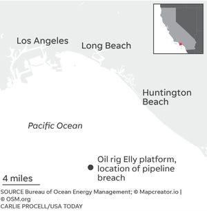 Location of oil rig Elly in Orange County oil spill.