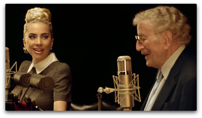 """Lady Gaga and Tony Bennett in the studio together recording """"Love for Sale."""""""