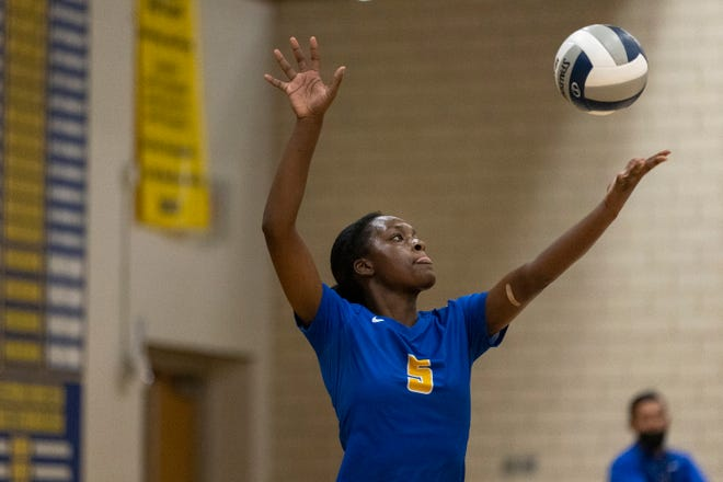 Pflugerville outside hitter Zahra Coates, serving against Wimberley in a nondistrict game earlier this season, fired a team-high 18 kills as the Panthers edged Weiss in five sets Friday to move into a tie for second place in District 18-5A.